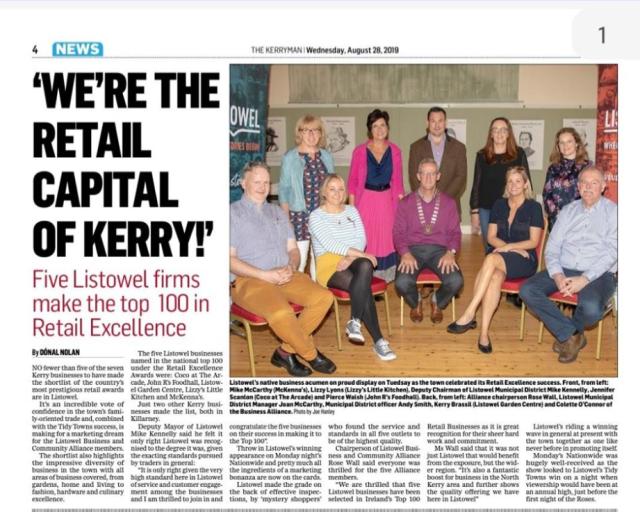 retail excellence ireland top 100. kerryman . newspaper. listowel.